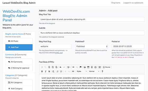 Creating a blog post in my laravel blog package admin backend panel