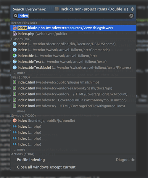 Search everywhere in PHPStorm