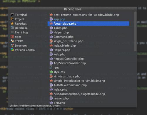 Recent files in PHPStorm