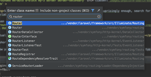 Search for class in PHPStorm